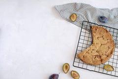Conceito de cozimento do outono - torta da ameixa imagem de stock