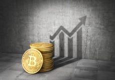 Conceito de Cryptocurrency Crescimento do bitcoin Sombra moldada pilha de Bitcoin no formulário do gráfico do crescimento 3d ilustração stock