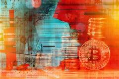 Conceito de Cryptojacking, hacker de computador e cryptocurrenc de Bitcoin foto de stock royalty free