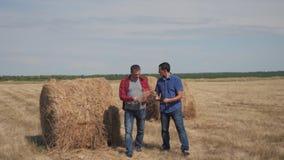 Conceito de cultivo esperto da agricultura dos trabalhos de equipe dois fazendeiros dos trabalhadores dos homens que andam estuda video estoque