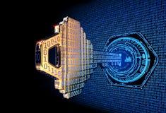 Conceito de Cybersecurity: 3d rendeu a ilustração de uma chave de código binário ilustração royalty free