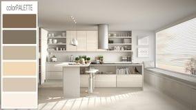 Conceito de design de interiores, desenhista do arquiteto, esboço branco contemporâneo da cozinha com paleta de cores, ideia do f ilustração stock