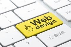 Conceito de design web: Cursor e design web do rato no keyb do computador Imagem de Stock Royalty Free