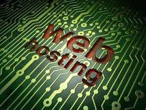 Conceito de design web de SEO: Alojamento web no fundo da placa de circuito Imagens de Stock Royalty Free