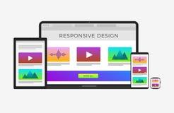 Conceito de design web responsivo evolutivo e flexível - portátil do computador, tabuleta, telefone celular, relógio esperto ilustração do vetor