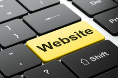 Conceito de design web: Web site no fundo do teclado de computador Foto de Stock Royalty Free