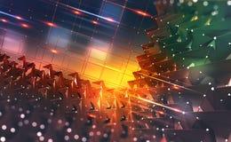 Conceito de Dig Data Fluxos de informação no Cyberspace Tecnologia de Blockchain Rede digital global do futuro ilustração royalty free
