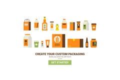 Conceito de empacotamento feito sob encomenda Imagem de Stock Royalty Free