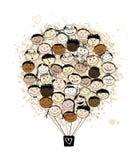 Conceito de família grande, balão de ar com faces de sorriso Foto de Stock