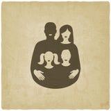 Conceito de família novo pai e mãe com ilustração do vetor