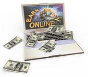 Conceito de fazer o dinheiro em linha Fotografia de Stock