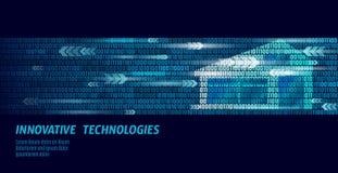 Conceito de fluxo esperto do código binário da casa Análise de informação de controle em linha Internet da domótica da tecnologia ilustração stock
