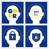 Conceito de GDPR Regulamento geral da proteção de dados Lei nova da UE desde 2018 ilustração stock
