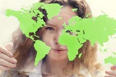 Conceito de Global Commercial Enterprise da mulher de negócios Imagens de Stock