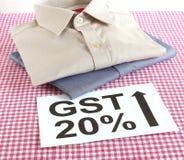 Conceito de GST para vestuários feitos prontos Fotografia de Stock Royalty Free