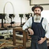Conceito de Handicraft Wooden Workshop do artesão do carpinteiro foto de stock
