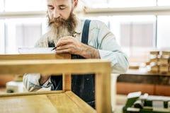 Conceito de Handicraft Wooden Workshop do artesão do carpinteiro fotografia de stock royalty free