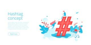 Conceito de Hashtag na ilustra??o isom?trica do vetor Fundo social da rede dos meios com povos e sinal Millenials que compartilha ilustração royalty free