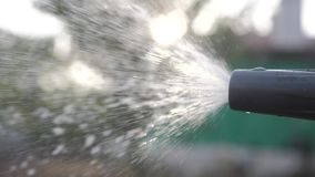 Conceito de jardinagem do cuidado do jardim espirrando o vídeo de movimento lento da água mulher que guarda molhar da mangueira d filme