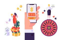 Conceito de jogo em linha do casino do Internet Caráteres com roleta, microplaquetas dos povos, entalhes, dados, jackpot Jogando  ilustração royalty free