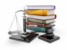 Conceito de justiça. Lei, escala e gavel ilustração stock