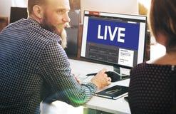 Conceito de Live Broadcast Media News Online Imagem de Stock