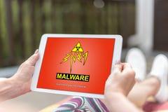 Conceito de Malware em uma tabuleta imagem de stock royalty free
