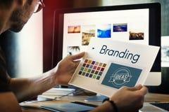 Conceito de marcagem com ferro quente do mercado da identidade do projeto das ideias