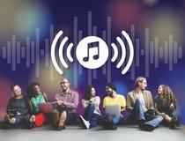 Conceito de Melody Music Wireless Sound Technology ilustração royalty free
