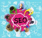 Conceito de mercado da estratégia empresarial da otimização do Search Engine Imagens de Stock