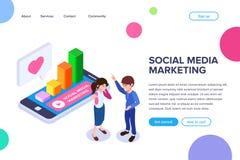 Conceito de mercado dos meios sociais isométricos _um empregado falar sobre importância promover negócio social rede ilustração do vetor