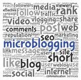 Conceito de Microblog na nuvem da etiqueta da palavra ilustração stock