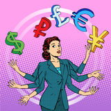 Conceito de mnanipulação do negócio de dinheiro da mulher de negócios ilustração stock