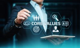 Conceito de Núcleo Valores Responsabilidade Éticas Objetivos Empresa foto de stock