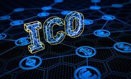Conceito de oferecimento da moeda da inicial de ICO Imagens de Stock