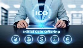 Conceito de oferecimento da tecnologia do Internet do negócio da moeda da inicial de ICO Foto de Stock