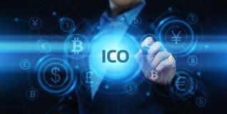 Conceito de oferecimento da tecnologia do Internet do negócio da moeda da inicial de ICO ilustração stock