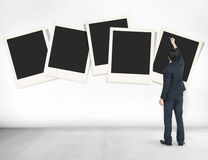 Conceito de papel dos meios da fotografia da câmera instantânea do Polaroid Fotografia de Stock