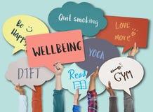 Conceito de pensamento do bem-estar do Mindset da positividade do bem estar ilustração stock