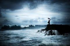 Conceito de pensamento do planeamento da crise do desespero do negócio Imagem de Stock