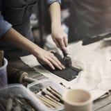 Conceito de Pottery Skill Workshop do artista do artesão fotos de stock