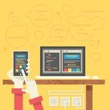 Conceito de programação do desenvolvimento do App Imagens de Stock Royalty Free