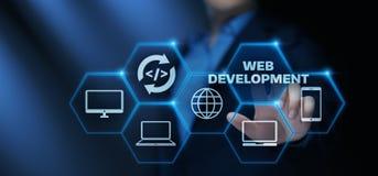 Conceito de programação do negócio da tecnologia do Internet da codificação do desenvolvimento da Web fotos de stock