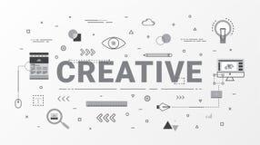 Conceito de projeto criativo de Infographics Conceito creativo da idéia Linha lisa estilo dos ícones com ilustração da tipografia ilustração stock