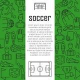 Conceito de projeto da bandeira do vetor do futebol, com linha fina ícones da arte Imagem de Stock