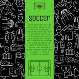 Conceito de projeto da bandeira do vetor do futebol, com linha fina ícones da arte Fotografia de Stock Royalty Free
