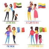 Conceito de projeto das nacionalidades das famílias ilustração do vetor