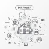 Conceito de projeto do infographics do devedor A linha imagem lisa contém a compra do empréstimo, educação, troca, troca do empré ilustração royalty free