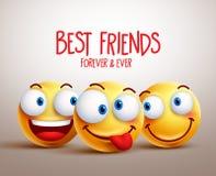 Conceito de projeto do vetor da cara do smiley dos melhores amigos com expressões faciais engraçadas ilustração do vetor