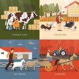 Conceito de projeto dos animais de exploração agrícola Imagens de Stock